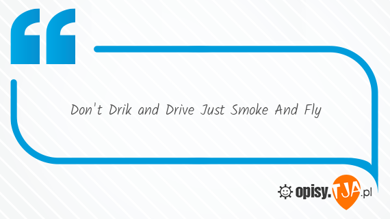 Dont Drik and Drive Just Smoke And Fly