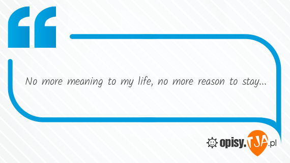 No more meaning to my life, no more reason to stay...